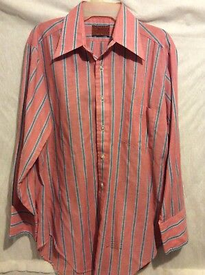 Vtg 70s Men's KINGS ROAD Big Collar XL Red Striped PERMA PREST