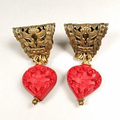 Jan Michaels Antique Brass Vintage Style Empire Carved Red Cinnabar Earrings