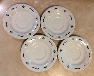 """Lot of 4 LONGABERGER Pottery 5.75"""" Saucer Plates Classic Blue Woven Traditions"""
