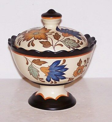 Stunning #964 Gouda Plateel Holland Flora Covered Pedestal Compote/candy Dish