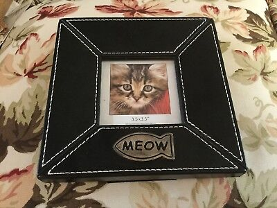 """Cat Motif Picture Frame """"Meow'"""" Black Leather White Stitching Sz 6 3/4""""X6 3/4"""""""