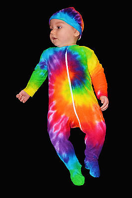 Tie Dye Rainbow Baby One piece Zippy Jumpsuit Growsuit Size 00, 0, 1