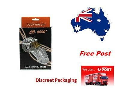 CB 6000 Poly-carbonate Cock cage Male Chastity Device Clear...Free Post