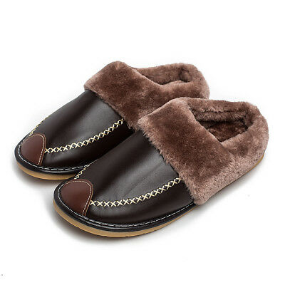 Mens Indoor Slippers PU Leather Closed Toe Warm Fur Lined House Slip On Flats
