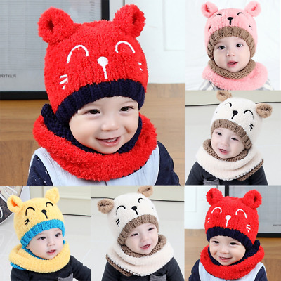 Baby Girls Boys Cute Beanie Warm Hat Cap Kids Hooded Scarf Earflap Knitted Cap