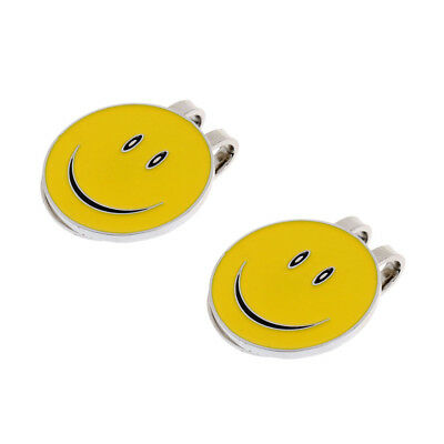 Alloy Happy Face Magnetic Visor & Hat Clip with Golf Ball Marker, 2Pcs