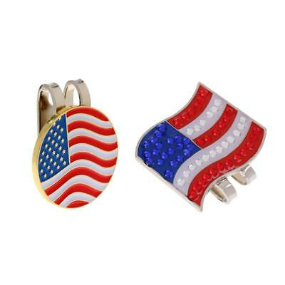 2 x Portable USA Flag Alloy Magnetic Golf Ball Marker + Hat Clip Golfer Gift