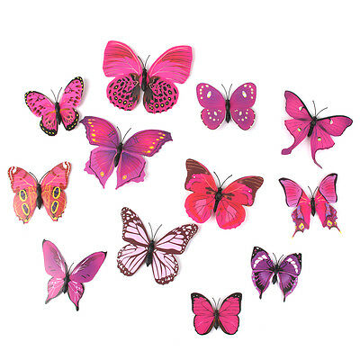 12pcs Purple 3D Artificial Wire Butterfly Wedding Cake Topper/Home Decorations