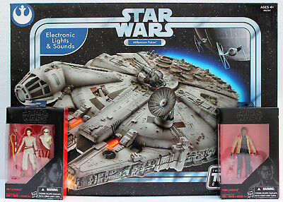 Star Wars Trilogy Collection Millennium Falcon + Black Series Rey / Finn  Hasbro