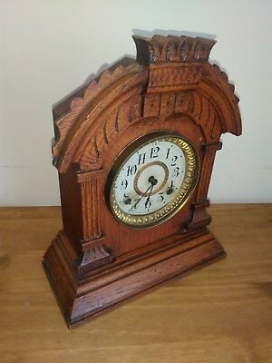 Antique Clock Ansonia 8 Day Tunis Mantel Clock Mechanical Brass Movement, c1882