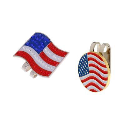Alloy USA Flag Golf Hat / Visor Clip with Magnetic Ball Marker Set of 2