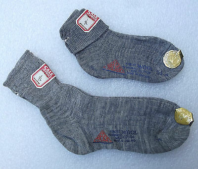 TRESCO grey ankle socks vintage 1950s UNUSED girls nursery school wool cotton