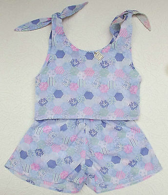 Girls vintage 2-piece outfit 7/8 UNUSED sun suit SHORTS and TOP patchwork effect