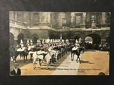 Vintage Postcard ROYAL HORSE GUARDS Changing Guard Whitehall, London, Valentines