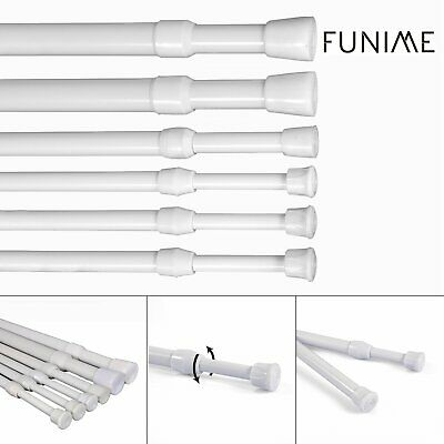 Spring Loaded Extendable Telescopic Net Voile Tension Bath Curtain Rail Pole Rod