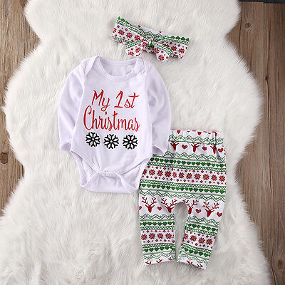 Christmas Newborn Baby Girls Tops Romper Pants Legging Headband Outfits 3PCS Set