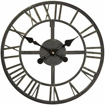 Wimborne Clock Briers Black Metal Garden Home Medium Clockface Skeleton Porch