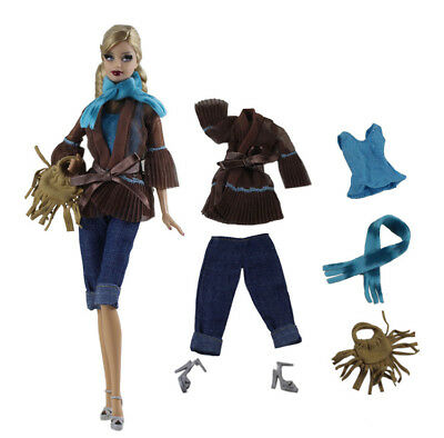 6in1 Set Fashion Top+vest+pants+shoes+bag+scarf FOR 11.5in.Doll Clothes