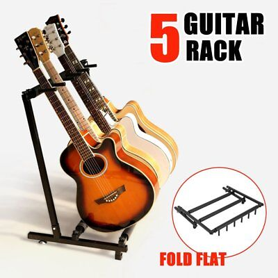 5 Guitars Stylish Guitar Stand Display Tidy Storage Rack Fits Metal Padded Foam