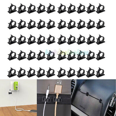 100 PCS Adjustable Self-Adhesive Wire Cable Ties Mounts Clip Organizer Holder US