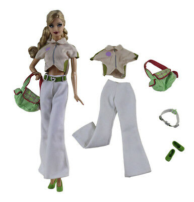 5 PCS Set Fashion Outfit Top+pants+shoes+bag+belt FOR 11.5in.Doll Clothes