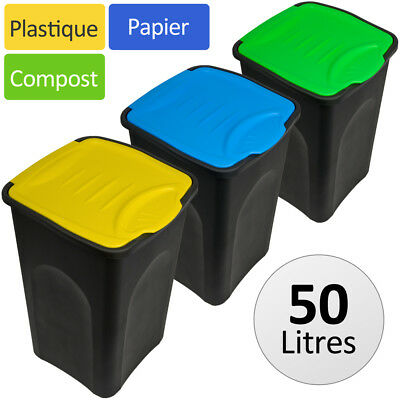lot de 3 poubelles de recyclage couvercle automatique 50. Black Bedroom Furniture Sets. Home Design Ideas