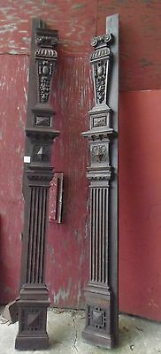 Victorian Pillars Oak Hand Carved Set of 2 - 9 ft Columns Fireplace Molding