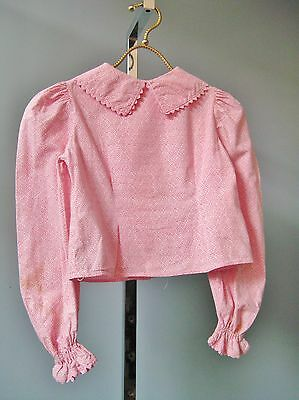 Vintage 1960s Girls Pink Cotton Blouse Puffy Sleeves Buttons in Back Peter Pan
