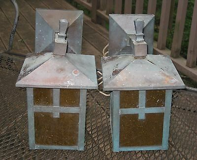 Vintage Pair Arts & Crafts Mission Brass with Amber Glass Wall Lanterns Gothic
