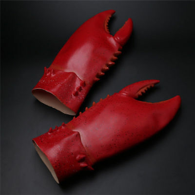 One Pair of Crab Lobster Claws Hands Gloves Cosplay Red Latex Gauntlet Props Toy