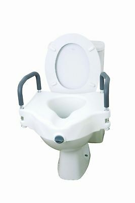 """5"""" Elevated Raised Toilet Seat With Armrests Mobility Disability Easy Fit"""
