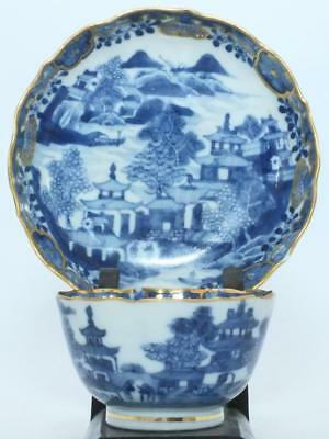 GOOD CHINESE BLUE & WHITE GILDED 18th C TEA BOWL & SAUCER