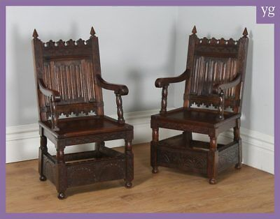 Antique Pair 2 Two Gothic 16th Century Style Oak Hall Library Office Armchairs