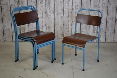 Vintage Industrial 'Nest Of Bye' Stacking Stackable Cafe Kitchen Dining Chairs
