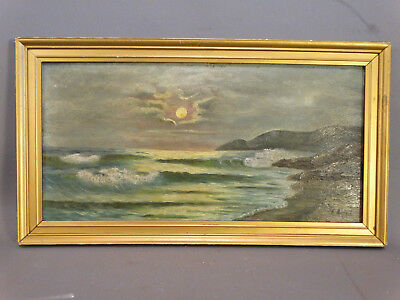 Antique MOONLIT MoonLight BEACH at NIGHT Luminist SHORE Waves SEASCAPE PAINTING