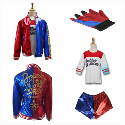 4PCS Harley Quinn Suicide Squad Costume Set Jacket Shirt Shorts Glove Halloween
