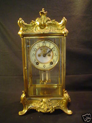 ANTIQUE AMERICAN NEW HAVEN GILT SHELF CLOCK, DBL BARREL PENDULUM, c. 1900