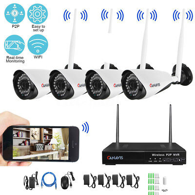 4CH Wireless NVR Kit Wifi HD IR 720P IP Camera Outdoor P2P CCTV Security System