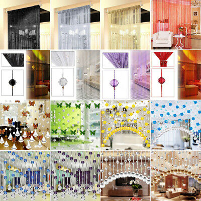 Beaded String Curtain Door Divider Crystal Beads Tassel Screen Panel Decor Lot