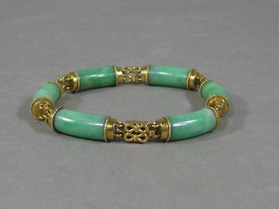 Fine Old Chinese Jade & Gold Bracelet Apple Green 18KT