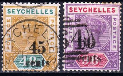 Seychelles 1893, 45 & 90 cent Surcharges, SG 20 & 21, used, CV £50