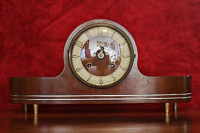 Antique Art Deco 'WESTLOX' Mantel Oak Clock with Chimes & Key