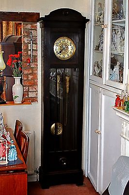 Antique Art Deco Longcase Grandfather Clock with Chimes