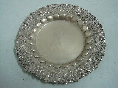 Antique decorative silver plated serving tray platter floral border