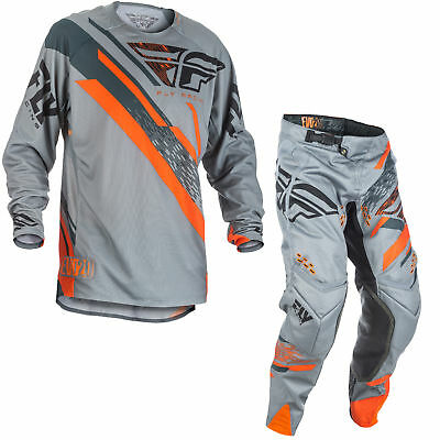 Fly Racing Mens & Youth Grey/Orange Evolution 2.0 Dirt Bike Jersey & Pants Kit
