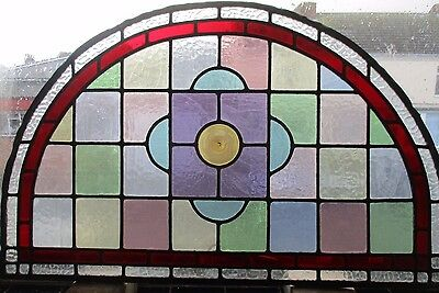 "Reclaimed Coloured leaded stained glass Fanlight panel 31 3/4"" x 20"""