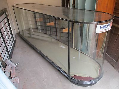 "Victorian Glass Shop display counter rounded ends 120"" x 40"" x 26"" 4 doors"