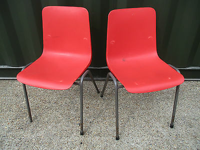 Vintage Red plastic adult cafe bistro restaurant stacking chairs 170 avail
