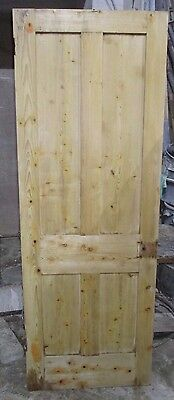 """Victorian Pine 4 panel unsually tall wooden door 29 3/4""""x82 3/4"""" x 1 3/8""""approx"""