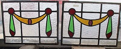 "Reclaimed PAIR Coloured leaded stained glass panels 16"" x 12 1/2"""